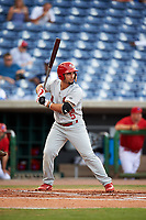 Palm Beach Cardinals first baseman Chris Chinea (5) at bat during a game against the Clearwater Threshers on April 14, 2017 at Spectrum Field in Clearwater, Florida.  Clearwater defeated Palm Beach 6-2.  (Mike Janes/Four Seam Images)