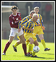 12/04/2003                   Copright Pic : James Stewart.File Name : stewart-arbroath v qots 04.STEVEN BOWIE GETS AWAY FROM ROSS CURRIE....James Stewart Photo Agency, 19 Carronlea Drive, Falkirk. FK2 8DN      Vat Reg No. 607 6932 25.Office     : +44 (0)1324 570906     .Mobile  : +44 (0)7721 416997.Fax         :  +44 (0)1324 570906.E-mail  :  jim@jspa.co.uk.If you require further information then contact Jim Stewart on any of the numbers above.........