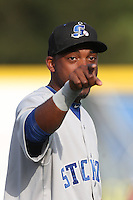 Aaron Shipman #10 of the Stockton Ports during a game against the Visalia Rawhide at Rawhide Ballpark on May 5, 2014 in Visalia California. Visalia defeated Stockton, 8-6. (Larry Goren/Four Seam Images)