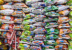 Close-up of plastic bags of chips for sale on the street in Quetzaltenango, Western Highlands, Guatemala