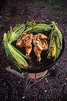 Chicken and corn on the grill<br />