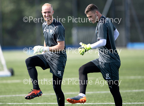 St Johnstone Training….27.07.18<br />Keepers Mark Hurst and Conor Mitchell warm-up during training<br />Picture by Graeme Hart.<br />Copyright Perthshire Picture Agency<br />Tel: 01738 623350  Mobile: 07990 594431