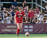 NEWTON, MA - AUGUST 29: Kate Collins of Boston University passes the ball during a game between Boston University and Boston College at Newton Campus Field on August 29, 2019 in Newton, Massachusetts.