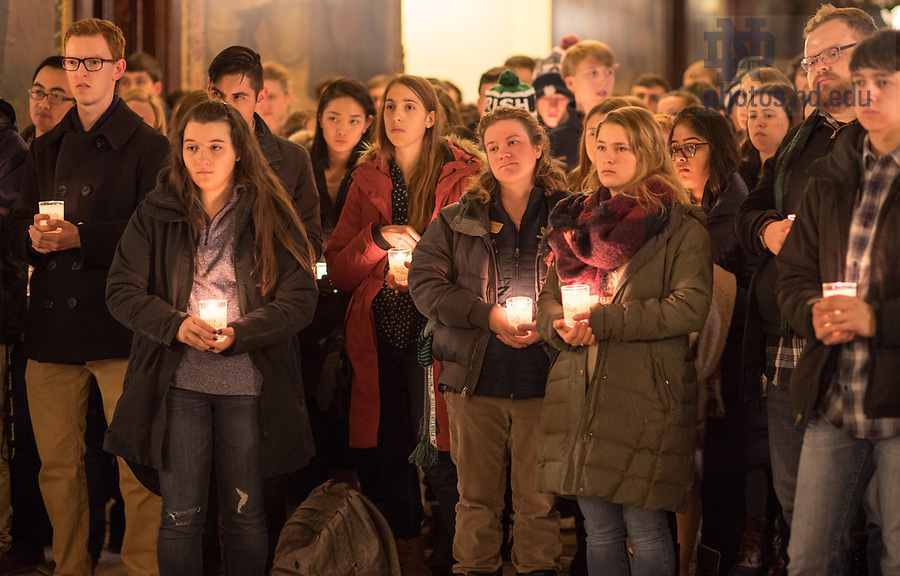 """January 15, 2018; Midnight prayer service in honor of the Rev. Martin Luther King Jr. holiday. The event also marked the beginning of """"Walk the Walk"""" week, a series of events and observances to celebrate and reflect on diversity and inclusiveness. (Photo by Barbara Johnston/University of Notre Dame)"""