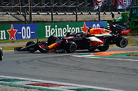 12th September, September 2021; Nationale di Monza, Monza, Italy; FIA Formula 1 Grand Prix of Italy, Crash of 33 VERSTAPPEN Max (nld) Red Bull Racing Honda RB16B and 44 HAMILTON Lewis (gbr) Mercedes AMG F1 GP W12 E Performance during the Formula 1 Heineken Italian Grand Prix, 14th round of the 2021 FIA Formula One World Championship
