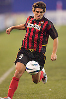Jaime Moreno of the MetroStars with the ball during a game against the Crew. The Columbus Crew defeated the NY/NJ MetroStars 1-0 on 4/12/03 at Giant's Stadium, NJ.