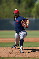 Cleveland Indians pitcher Devon Stewart (50) during an instructional league game against the Milwaukee Brewers on October 8, 2015 at the Maryvale Baseball Complex in Maryvale, Arizona.  (Mike Janes/Four Seam Images)