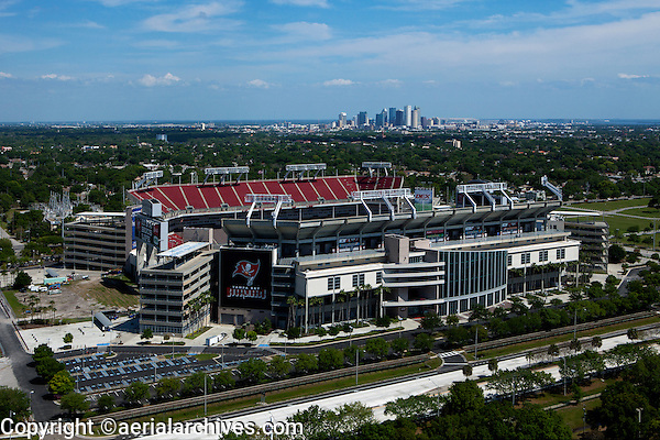 aerial photograph Raymond James stadium, downtown Tampa, Florida in background