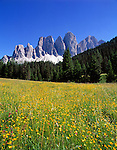 Italy, South Tyrol, Alto Adige, Dolomites, Val di Funes: Le Odle mountains at natural park Puez-Odle