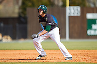 Zach Jarrett (10) of the Charlotte 49ers takes his lead off of second base against the Canisius Golden Griffins at Hayes Stadium on February 23, 2014 in Charlotte, North Carolina.  The Golden Griffins defeated the 49ers 10-1.  (Brian Westerholt/Four Seam Images)