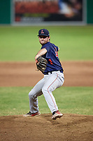 Lowell Spinners relief pitcher Kevin Biondic (48) delivers a pitch during a game against the Batavia Muckdogs on July 16, 2018 at Dwyer Stadium in Batavia, New York.  Lowell defeated Batavia 4-3.  (Mike Janes/Four Seam Images)