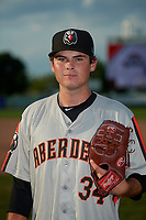 Aberdeen Ironbirds pitcher Griffin McLarty (34) poses for a photo before a NY-Penn League game against the Staten Island Yankees on August 22, 2019 at Richmond County Bank Ballpark in Staten Island, New York.  Aberdeen defeated Staten Island 4-1 in a rain shortened game.  (Mike Janes/Four Seam Images)