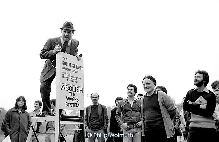 A member of the Socialist Party of Great Britain addresses a crowd at Speakers Corner, Hyde Park, London; 1978