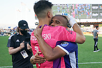 SAN JOSE, CA - AUGUST 8: JT Marcinkowski #1 celebrates with Judson Silva Tavares #93 of the San Jose Earthquakes after a game between Los Angeles FC and San Jose Earthquakes at PayPal Park on August 8, 2021 in San Jose, California.