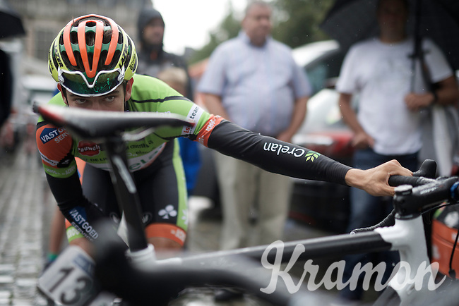 Wout Van Aert (BEL/Crelan-Vastgoedservice) checking his saddle position pre-race<br /> <br /> 50th GP Jef Scherens 2016