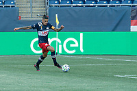 FOXBOROUGH, MA - SEPTEMBER 19: Gustavo Bou #7 of New England Revolution closes in on the New York City FC goal during a game between New York City FC and New England Revolution at Gillette on September 19, 2020 in Foxborough, Massachusetts.