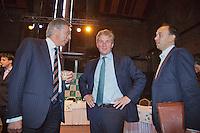 13-09-12, Netherlands, Amsterdam, Tennis, Daviscup Netherlands-Swiss, Draw , KNLTB chairman Rolf Thung(L), deputy mayor of Amsterdam Eric van der Burg and KNLTB communication manager Robert-Jan Schumacher.