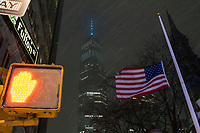 NEW YORK, NEW YORK - JANUARY 31: The One World Trade Center is seen during the pass of the snowstorm on January 31, 2021 in New York City. New York City Mayor Bill de Blasio declared a state of emergency order due to the arriving storm that's expected to wallop New York, where airports are expected to cancel the majority if their flights. (Photo by Eduardo MunozAlvarez/VIEWpress)
