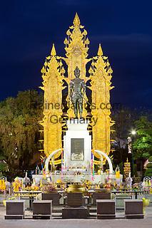 Thailand, Northern Thailand, Chiang Rai: King Mengrai Monument at night   Thailand, Nordthailand, Chiang Rai: King Mengrai Monument am Abend