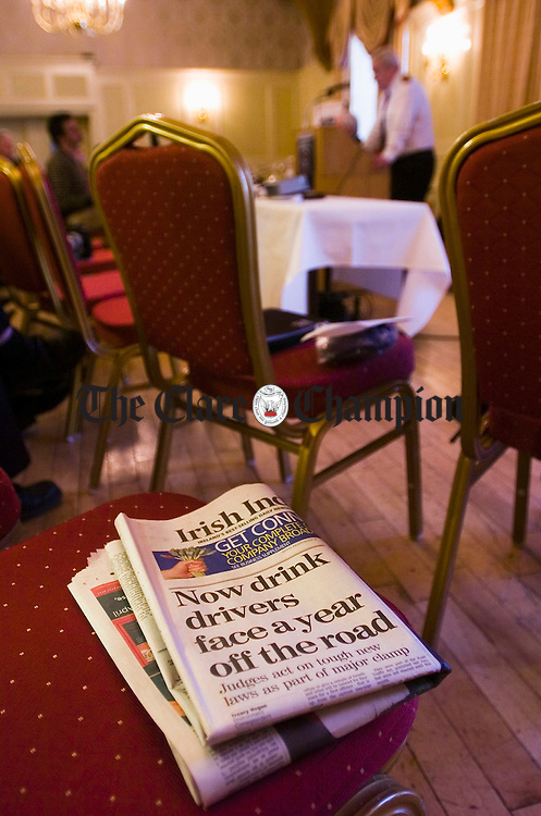 The daily national newspaper headlines spell out even stricter sentenses for drink drivers at the Safe Driving Pledge Conference at the Old Ground hotal in Ennis. Photgraph by John Kelly.