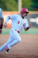 Greeneville Reds right fielder Brian Rey (6) runs the bases during a game against the Pulaski Yankees on July 27, 2018 at Pioneer Park in Tusculum, Tennessee.  Greeneville defeated Pulaski 3-2.  (Mike Janes/Four Seam Images)