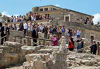 Pictured: A crowd of people look on as Prince Charles and the Duchess of Cornwall visit Knossos on the island of Crete, Greece. Friday 11 May 2018 <br /> Re:HRH Prnce Charles and his wife the Duchess of Cornwall visit the ancient site of Knossos near Heraklion, Greece.