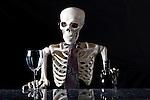 Skeleton Tending Bar. Bar Tenderthat is a skeleton.