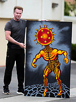 Artist ,Jamie Scott Lytle and his painting The Virus. Acrylic on Board. 5' X 3'. Painted 4/2/20 - 5/29/20. | Photos and art by Jamie Scott Lytle. Copyright.