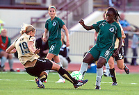 St Louis Athletica forward Enoila Aluko (9) battles for the ball with FC Gold Pride defender Carrie Dew (19) during a WPS match at Korte Stadium, in Edwardsville, IL, May 9 2009.  Athletica won the match 1-0.