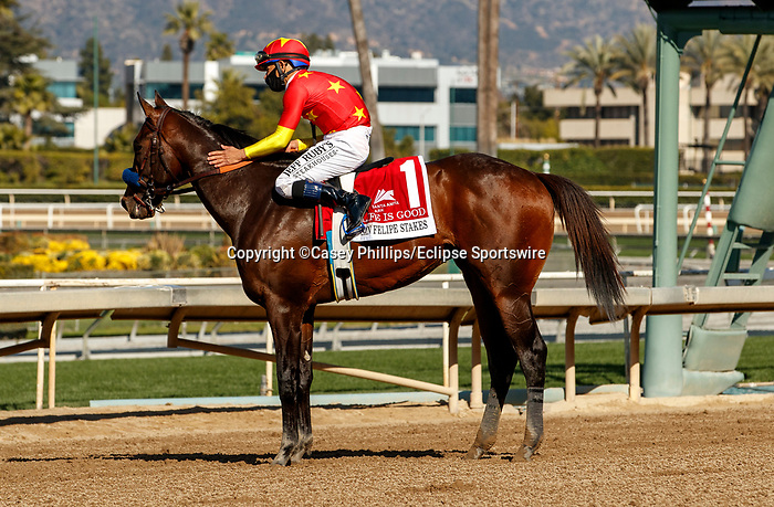 ARCADIA, CA  MARCH 6:  #1 Life is Good, ridden by Mike Smith returns to the connections in winners circle after winning the San Felipe Stakes (Grade ll) on March 6, 2021 at Santa Anita Park in Arcadia, CA.  (Photo by Casey Phillips/EclipseSportswire/CSM)