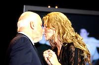 September 26. 2002, Montreal, Quebec, Canada; <br /> <br /> Celine Dion (R) and her husband Rene Angelil,  unveil her Bronze Star at the Pepsi Forum's Walk of Fame, September 26 2002, Montreal, CANADA.<br /> <br /> <br /> <br /> <br /> <br /> <br /> t.