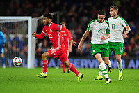 Tyler Roberts of Wales vies for possession with Shaun Williams of Republic of Ireland during the UEFA Nations League B match between Wales and Ireland at Cardiff City Stadium in Cardiff, Wales, UK.September 6, 2018