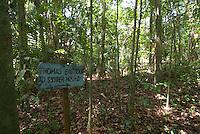 Original trail marker, Smithsonian Tropical Research Institute, STRI, Barro Colorado, Lago Gatun, Panama