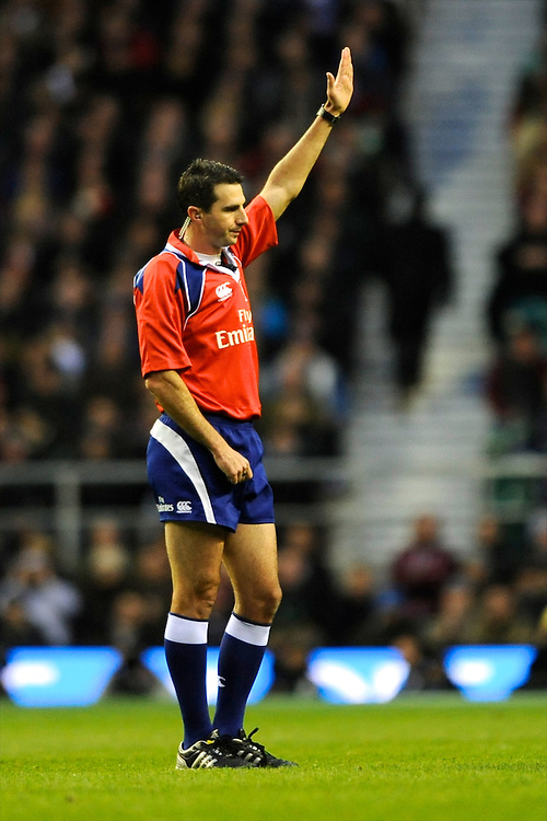 Referee Craig Joubert during the QBE Autumn International match between England and New Zealand at Twickenham on Saturday 16th November 2013 (Photo by Rob Munro)