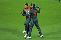 Bangladesh's Shak Mahedi Hasan celebrates the dismissal of Will Young during the second International T20 cricket match between the New Zealand Black Caps and Bangladesh at McLean Park in Napier, New Zealand on Tuesday, 30 March 2021.  Photo: Dave Lintott / lintottphoto.co.nz