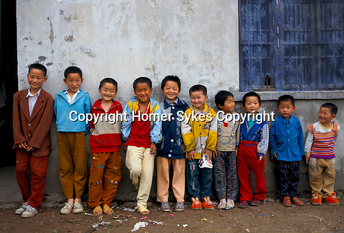 'CHINA - ALL BOYS', LIUFU VILLAGE, ANHUI PROVINCE ABNORMALLY HIGH RATIO OF YOUNG MALES. RESULT OF ONE CHILD POLICY, 1998