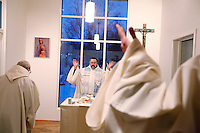 "Laudes and masse being held in the morning. Brother Joël (center) and Cyril (left) and Arnaud.The new Munkeby Mariakloster - kloster is Norwegian for monastery . The four founding French monks will establish their discrete presence as a contemplative monastery according to the Rule of Saint Benedict, written in the 6th century. Brother Joel (55) & Cîteaux's Prior, brothers Arnaud (31), Bruno (33) and Cyril (81), have all chosen to be part of the founding community, despite Norway's rude climate and winter darkness at latitude 63º N, not far from the arctic circle.Munkeby, the ""place of the monks"" was the third and northernmost Norwegian monastery established by the Cistercians in the 12th century"