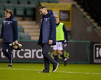 15th November 2020; Easter Road, Edinburgh, Scotland; Scottish League Cup Football, Hibernian versus Dundee FC; Dundee manager James McPake at the end of the match