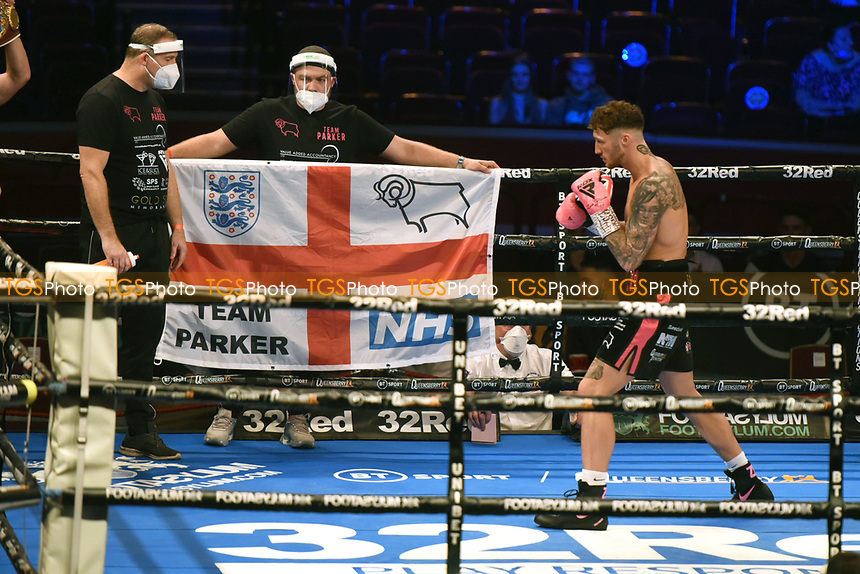 Zach Parker (red/black shorts) defeats Sherzod Khusanov during a Boxing Show at the Royal Albert Hall on 10th July 2021