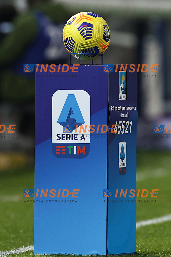 banner, ball Serie A<br /> prior to the Serie A football match between Benevento Calcio and Spezia Calcio at stadio Ciro Vigorito in Benevento (Italy), November 7th, 2020. <br /> Photo Cesare Purini / Insidefoto