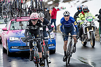 Hugh Carthy (GBR/EF Education - Nippo), Giulio Ciccone (ITA/Trek - Segafredo) & Joao Almeida (POR/Deceuninck - Quick Step) coming over the Passo Giau<br /> <br /> due to the bad weather conditions the stage was shortened (on the raceday) to 153km and the Passo Giau became this years Cima Coppi (highest point of the Giro).<br /> <br /> 104th Giro d'Italia 2021 (2.UWT)<br /> Stage 16 from Sacile to Cortina d'Ampezzo (shortened from 212km to 153km)<br /> <br /> ©kramon