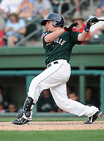 Catcher Christian Vazquez (15) of the Greenville Drive, Class A affiliate of the Boston Red Sox, in a game against the Augusta GreenJackets on April 10, 2011, at Fluor Field at the West End in Greenville, South Carolina. (Tom Priddy / Four Seam Images)