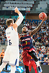 """Real Madrid's player Andres """"El Chapu"""" Nocioni and FC Barcelona Lassa's player Tyrese Rice during the match of the semifinals of Supercopa of La Liga Endesa Madrid. September 23, Spain. 2016. (ALTERPHOTOS/BorjaB.Hojas)"""