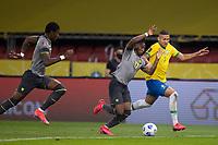 4th June 2021; Beira-Rio Stadium, Porto Alegre, Brazil; Qatar 2022 qualifiers; Brazil versus Ecuador; Richarlison of Brazil and Ángelo Preciado of Ecuador chase a through ball