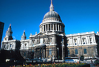 Sir Christopher Wren: St. Paul's Cathedral--South elevation. 365 ft. high.  Ludgate, London. Photo '90.