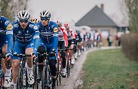 (later winner) Zdeněk ŠTYBAR (CZE/Deceuninck-Quick Step) tucked behind his teammates up front (in the peloton) going over the Haaghoek cobbles for the first time<br /> <br /> 74th Omloop Het Nieuwsblad 2019 <br /> Gent to Ninove (BEL): 200km<br /> <br /> ©kramon