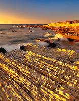 Tilted sandstone beds at Montana de Oro State Park, California.