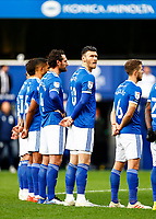 31st October 2020; The Kiyan Prince Foundation Stadium, London, England; English Football League Championship Football, Queen Park Rangers versus Cardiff City; Kieffer Moore of Cardiff City during a moments silence in respect