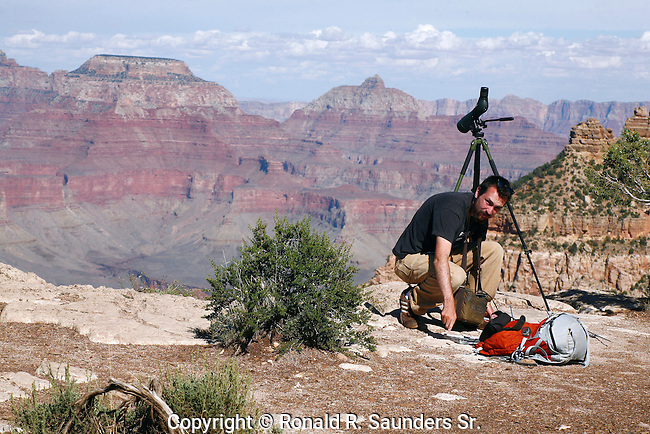 Man reaches down in his bag of tools to select the appropriate item needed to locate the whereabouts of a condor. Many condors reside inside the Grand Canyon.