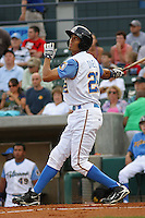 Mike Daniel #28 of the Myrtle Beach Pelicans at bat during a game against the Frederick Keys on May 14, 2010 in Myrtle Beach, SC.